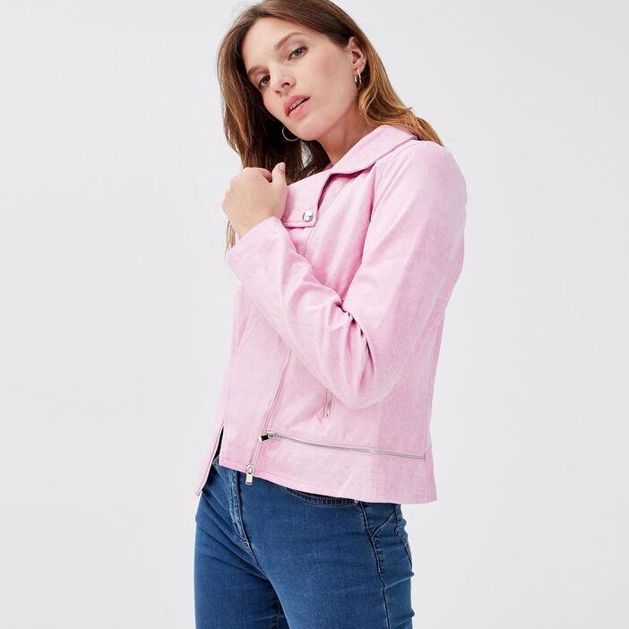 Veste esprit motard zippée rose corail femme