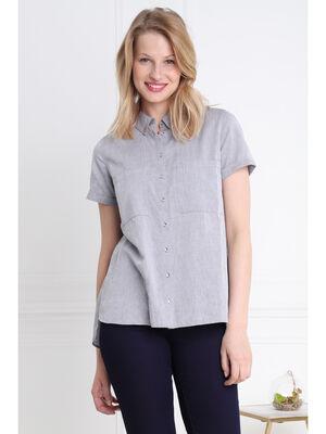 Chemise manches courtes revers bleu femme