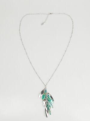 Sautoir facon bouquet vert turquoise femme