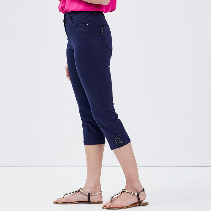 Pantacourt ajusté taille haute bleu marine femme