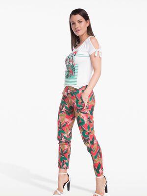 Pantalon fluide imprime rouge femme
