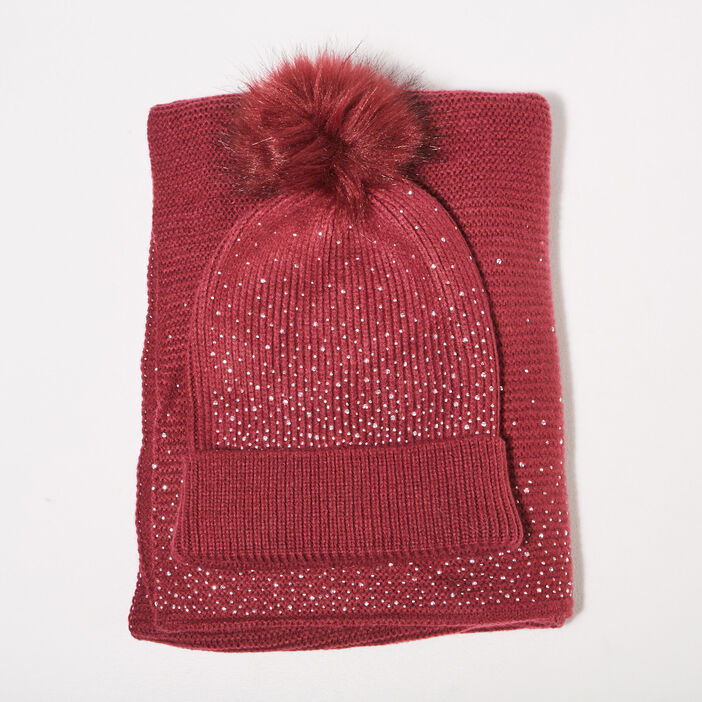 Lot bonnet et écharpe strass rose framboise femme