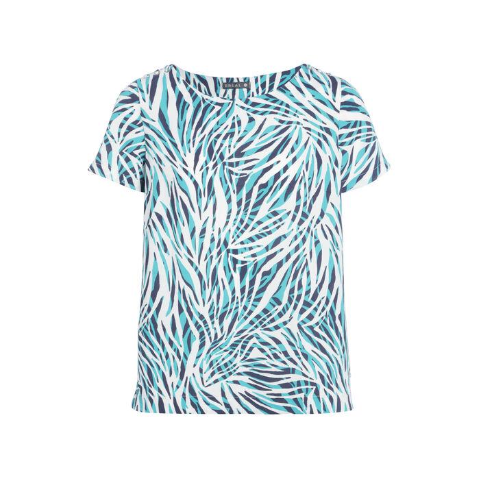 T-shirt manches courtes laçage vert turquoise femme