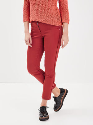 Pantalon ajuste bandes cotes bordeaux femme