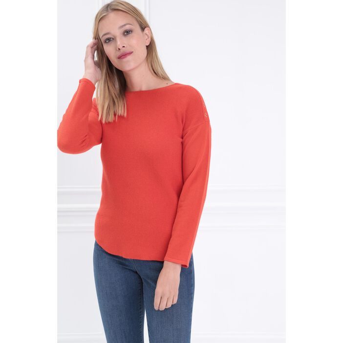 Pull manches longues col rond rouge corail femme