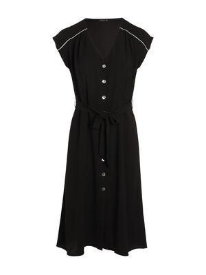 Robe cintree col V noir femme