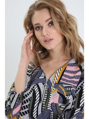 821ad1c5aee Blouse manches 34 zippee multicolore femme