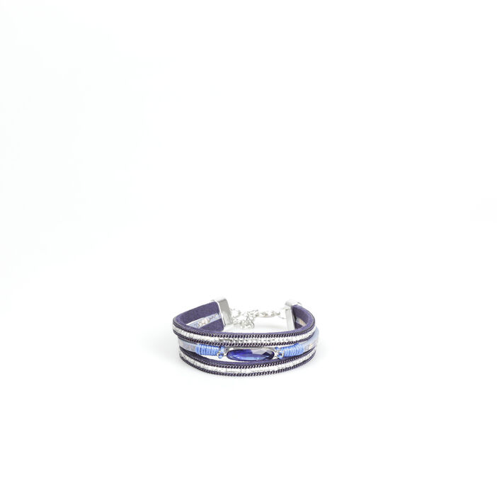 Bracelet manchette multirangs bleu marine femme