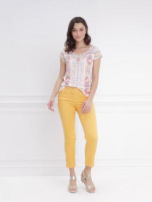 Pantalon 78 satin jaune moutarde femme