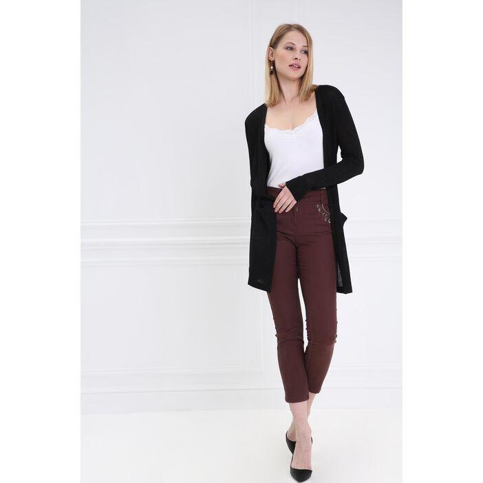 Pantalon taille basculée brodé marron foncé femme