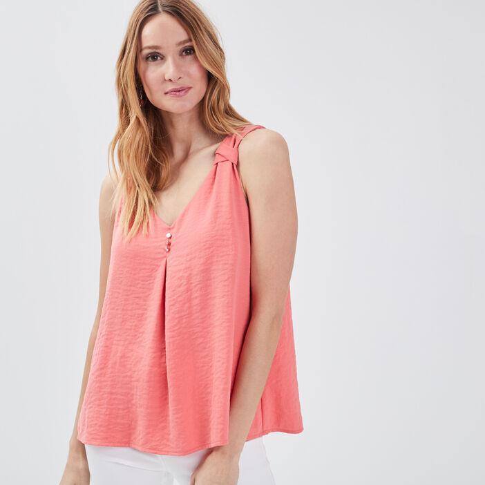 Blouse sans manches orange corail femme