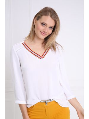Blouse manches 34 col V blanc femme