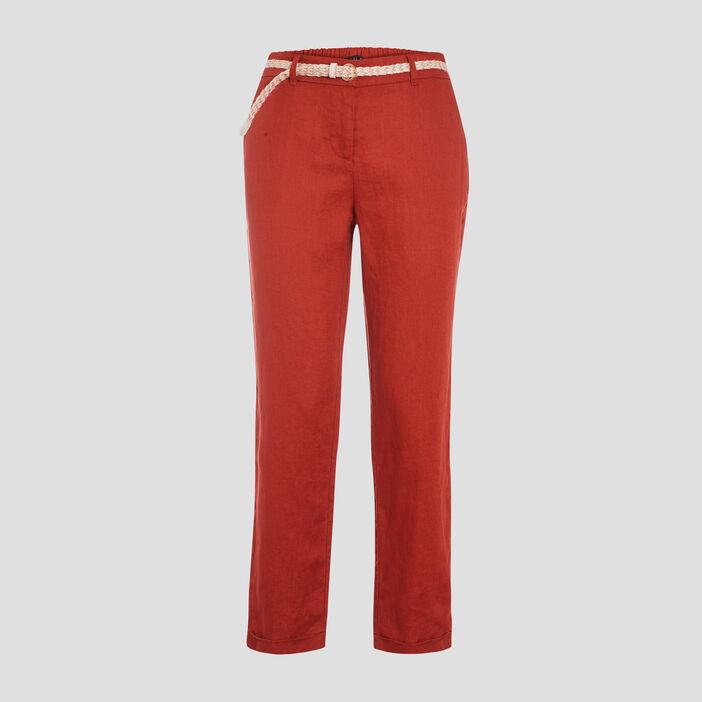 Pantalon chino taille basculée rouge foncé femme