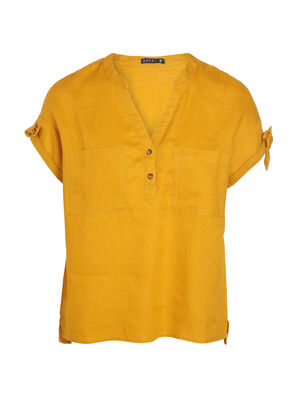 Blouse manches courtes nouees jaune or femme