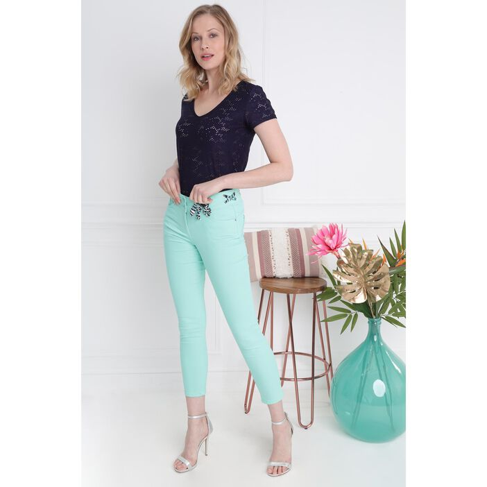 300a9ebfb1990 Pantalon ajusté ceinture foulard vert menthe femme | Bréal