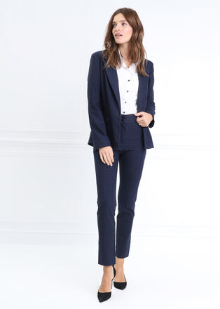 Pantalon droit taille basculee bleu marine femme