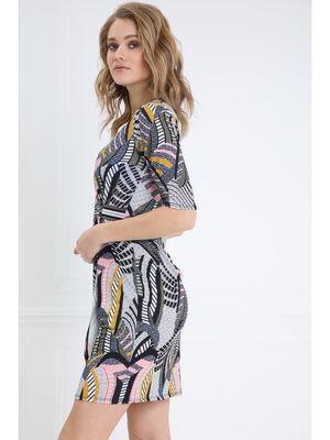 Robe courte ajustee col V multicolore femme