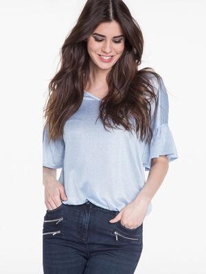 T shirt avec manches pagodes bleu gris femme