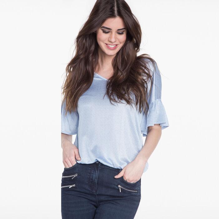 T-shirt avec manches pagodes bleu gris femme