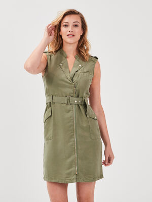 Robe droite zippee ceinturee vert kaki femme