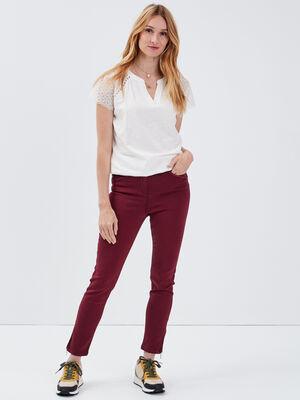 Pantalon ajuste taille haute bordeaux femme