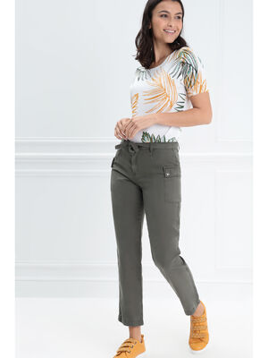 Pantalon cargo taille basculee vert kaki femme