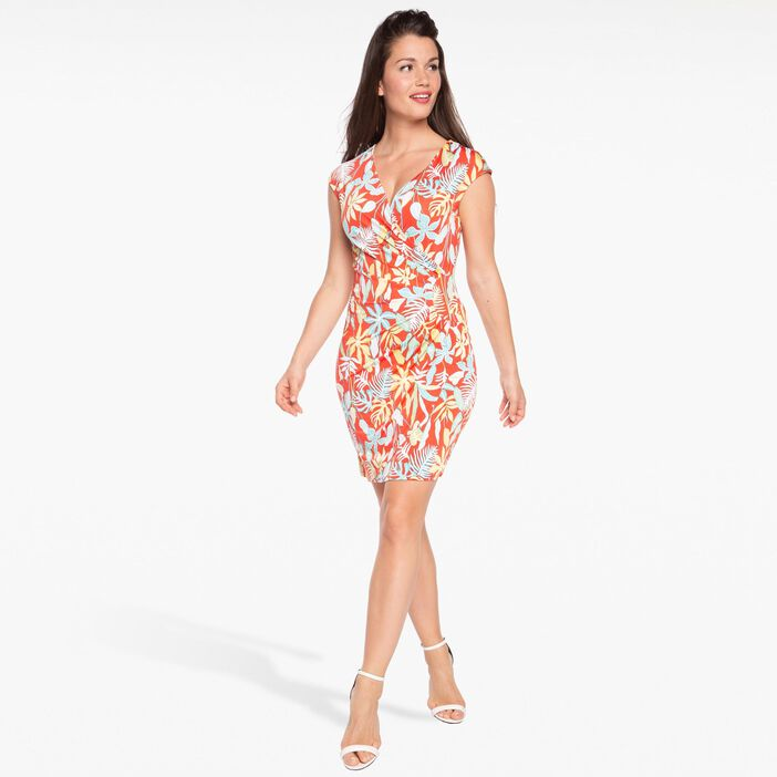 Robe maille maillot imprimée rouge corail femme