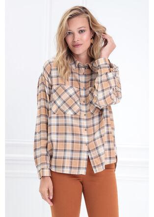 Chemise manches longues jaune or femme