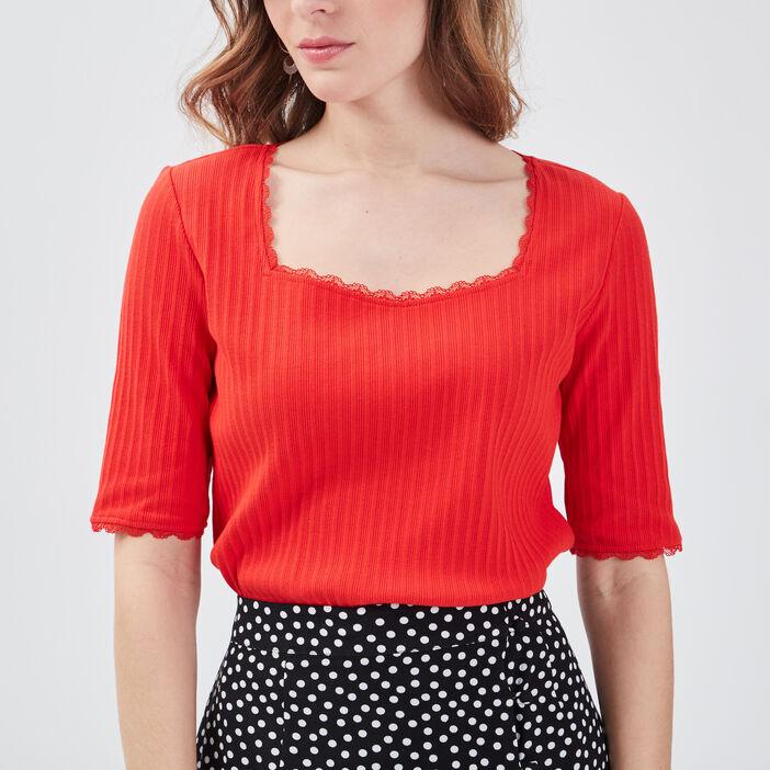 T-shirt manches courtes côtelé rouge femme