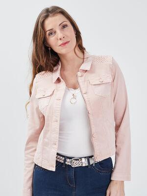 Veste droite boutonnee en jean rose femme