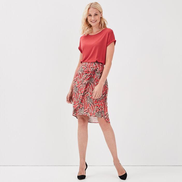 Jupe droite rose vif femme