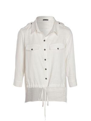 Chemise manches 34 avec lien ivoire femme