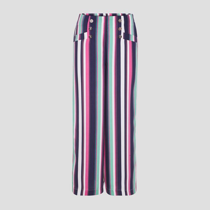 Pantalon flou taille haute bleu marine femme