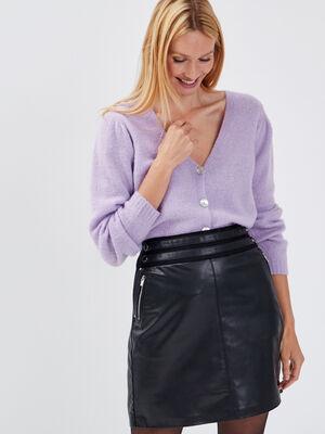 Gilet manches longues boutonne violet clair femme