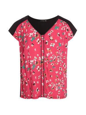 Tshirt manches courte col rond rose fushia femme