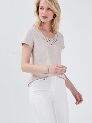 T shirt manches courtes sable femme
