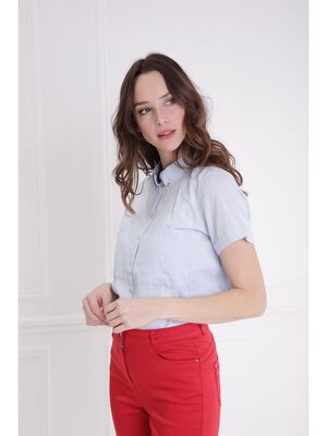 Chemise manches courtes revers bleu gris femme