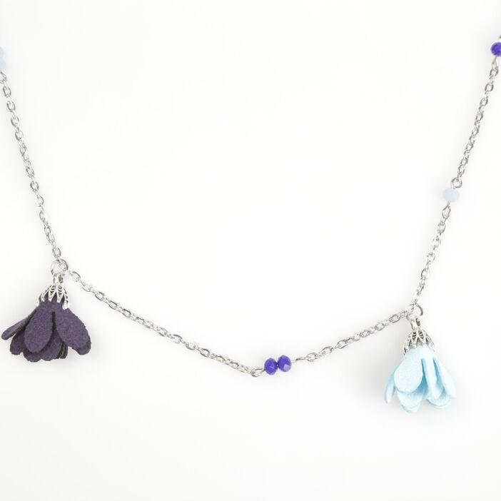 Sautoir perles à pompons bleu foncé femme