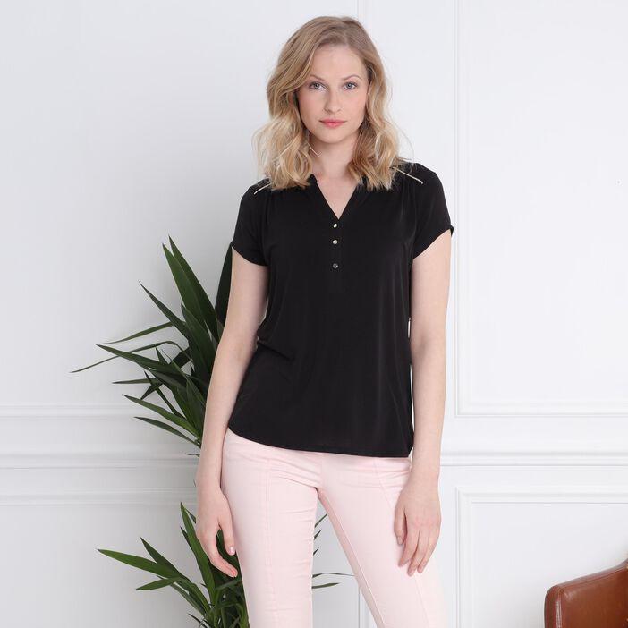 T-shirt manches courtes détail col noir femme