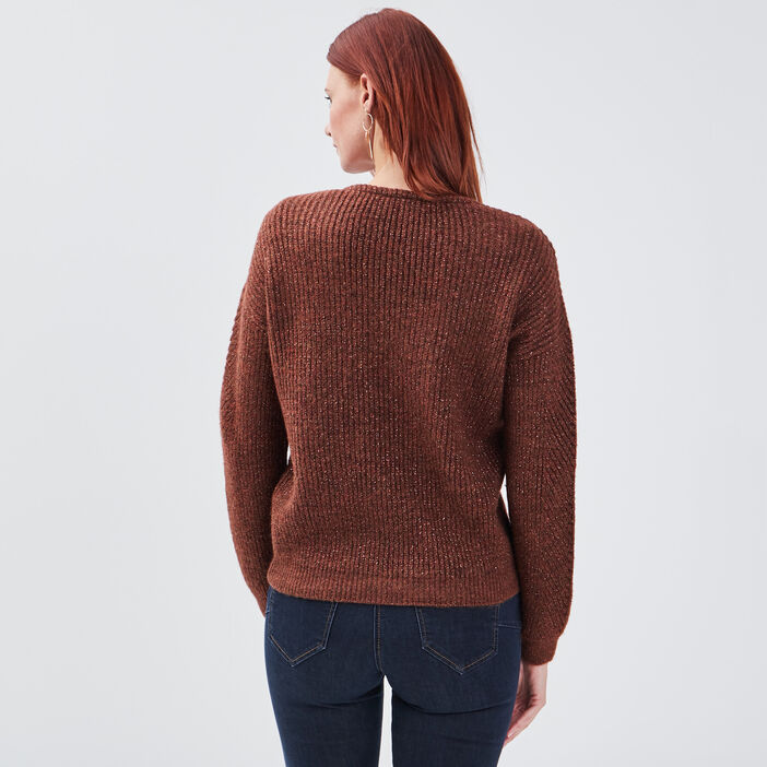 Pull manches longues camel femme
