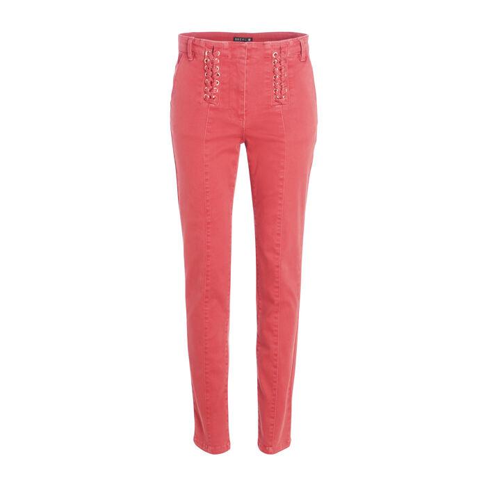 Pantalon ajusté détail laçage orange foncé femme