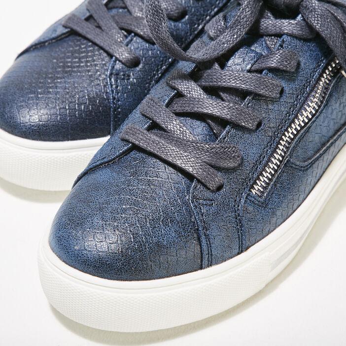 Baskets plates détails zippés bleu marine femme