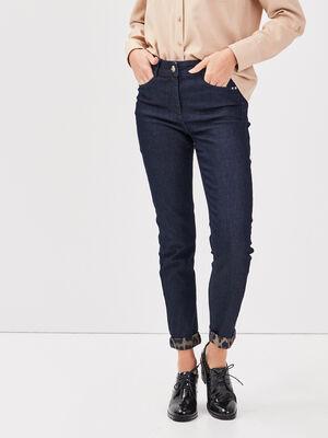 Jeans ajuste taille haute denim brut femme