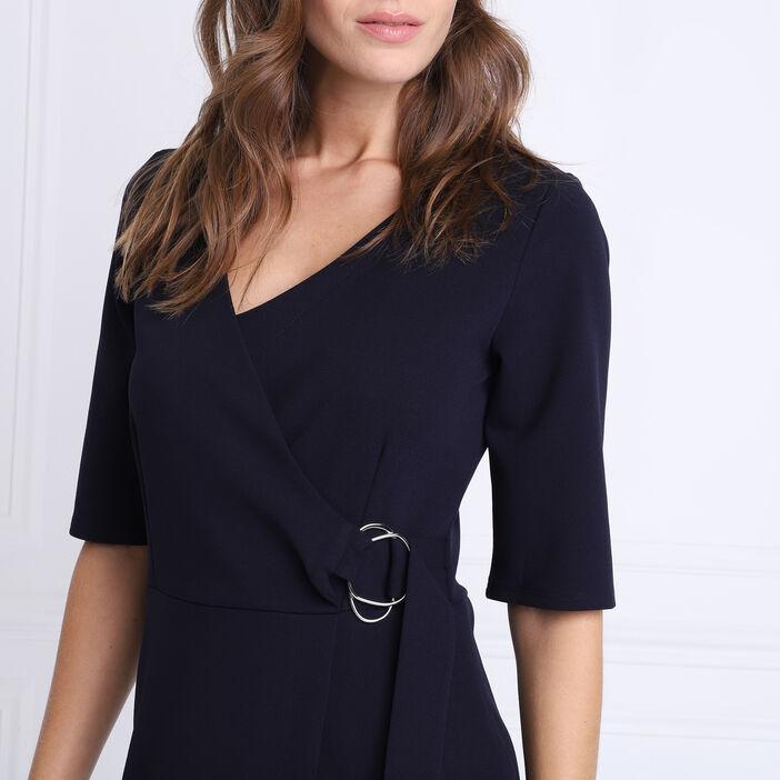 Robe droite détail boucle bleu marine femme