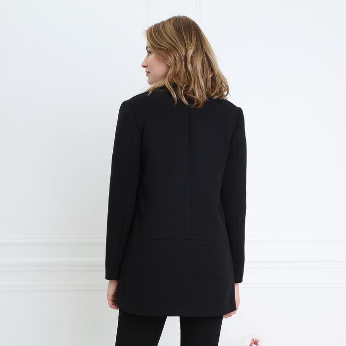 Manteau court zippé noir femme