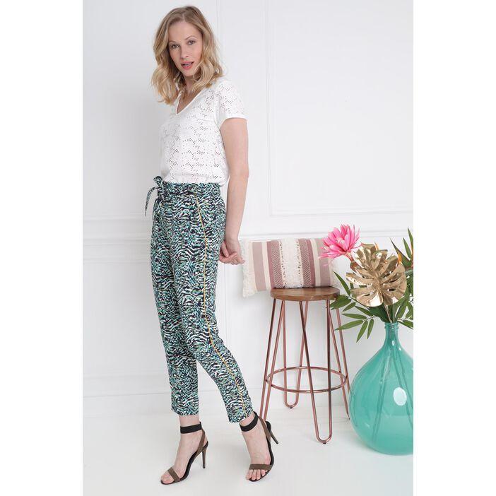 Pantalon flou imprimé tropical blanc femme