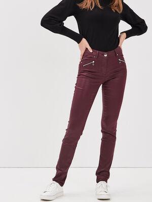 Pantalon ajuste details zippes violet fonce femme