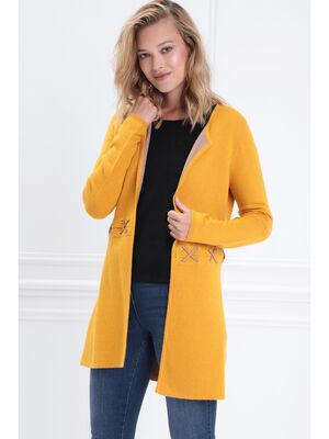 Gilet manches longues a lacets jaune or femme