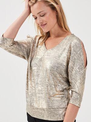 T shirt manches 34 gris femme