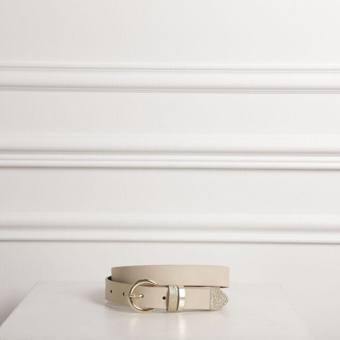 Ceinture détail brillant beige femme